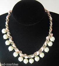 New LovesFashion Bronze Choker Necklace. Pink Ribbon & Pearls. Beauty & Glamour.