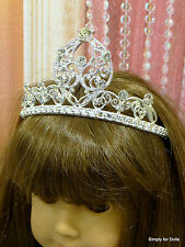 "SILVER Metallic RHINESTONE TIARA Crown fits 18"" AMERICAN GIRL Doll Clothes"