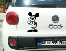 "Mickey MIDDLE FINGER Decal Sticker Bumper Indoor or outdoor 3.5"" X 6"""