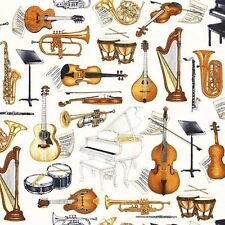 Perfect Pitch Musical Instruments Cello Harp Horns Cotton Fabric Fat Quarter