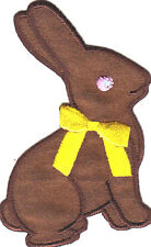 RABBIT(EASTER BUNNY) w/YELLOW BOW-Iron On Embroidered Patch/Forest,Cute Critters