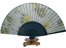 bamboo hand fan, green bamboo & silk, flowers