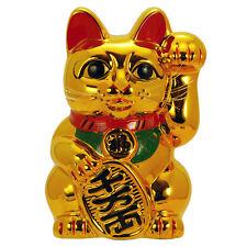 """Japanese Welcome 10"""" Tall Golden Lucky Forturn Ceramic Maneki Neko Cat/Coin Bank"""