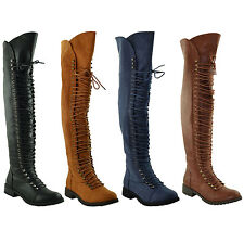 Womens Over the Knee High Riding Boots Corset Lace Up Zip Closure Size 5.5-10