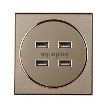 4 USB Wall Socket Charger Plug Receptacle Outlet Panel Station 3.1A Brushed
