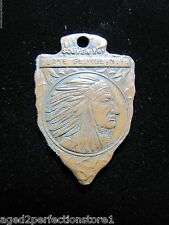 Antique Lake George New York Souvenir Medallion Fob Arrow Head Indian Chief