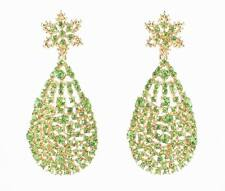 GREEN AUSTRIAN CRYSTAL RHINESTONE GOLD CHANDELIER DANGLE EARRINGS STUD E2072