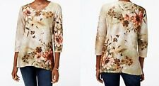 Alfred Dunner shirt size XL XLarge Green, Brown, Beige with Orange Floral print