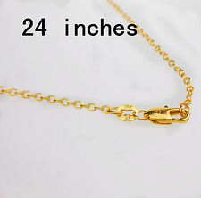 "24"" 1PCS Wholesale Fashion Making Jewelry Rolo 18K Gold Filled Necklaces Chains"