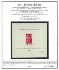 ** Italia Corpo Polacco 1946: Foglietto Soccorso di Guerra [3A; Varietà Colore]
