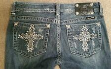 Miss Me Skinny JP5103SKL Crystal Cross Bling Pockets Size 28 x 33