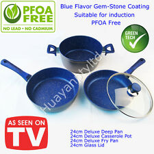 NON STICK 24CM Pan Pot Stone Cookware Good Flavour 4 PCS SET