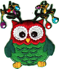 OWL w/CHRISTMAS DECORATIONS - HOLIDAY - BIRDS - IRON ON EMBROIDERED PATCH