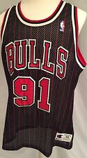 Champion Chicago Bulls Pinstriped Dennis Rodman Authentic Sewn Stitched Jersey