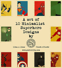 Superhero Minimalist Prints by Posteritty Set 10 Minimal Designs (18cm x 13cm)