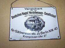 Vecchio Targa Smaltata Assicurazione Scudo Berlino Tedesche Grandine