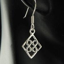 Solid Sterling Silver 925 Celtic Diamond Cut Knot Plain Silver Earrings
