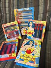 New 5 pc Wonder Woman Collection DC Comics Beauty Book Eyeshadow Lip Gloss Brush