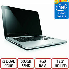 "Grey Lenovo IdeaPad U310 13.3"" HD LED Intel i3 500GB SSHD 4GB RAM Windows 10 UK"