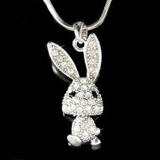 w Swarovski Crystal Cute Big Ear Bunny Hase Easter Rabbit Pendant Chain Necklace