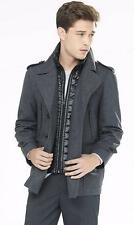 NWT EXPRESS $298 MENS WATER RESIST WOOL BLEND MILITARY PEACOAT JACKET COAT LARGE