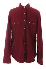 TOPMAN Men's Red Ribbed Long Sleeve Shirt w/Pockets 83S26C US Size M NEW $64