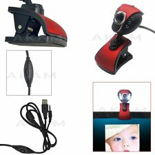USB 2.0 HD Webcam Camera 6 LED Web Cam with Mic for PC Laptop Desktop Red