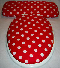 RED with WHITE POLKA DOTS dot Elongated Toilet Seat Lid/Tank Lid Cover Set