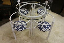 Custom-Made Steel Post-Modern Style Table & Four Chairs; White With Glass Top