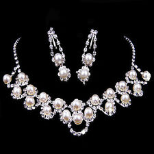 Rhinestone Crystal Plated Pearl Necklace Earring Jewelry Set For Wedding Bridal