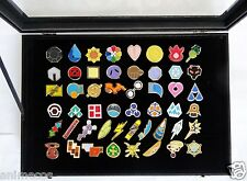Pokemon Gym Badges with Glass Lid Display Showcase Set of 50 Lapel Pin Brooches
