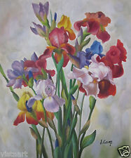 """Hand Painted Oil On Stretched Canvas Cloth 20""""x24"""" ~Colorful Irises~"""
