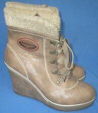 Women's Reneeze Cuffed Booties Boots Wedge Heels Platform Size 8