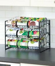 BLACK 3-Tier Can Organizer.Kitchen Pantry Food Soda Storage Shelf Rack.Holds 36