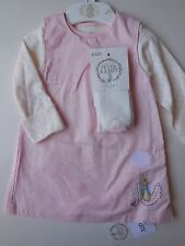 'PETER RABBIT' BABY GIRL PINAFORE DRESS, ROMPER + TIGHTS SIZE 00 FITS 3-6M *NEW