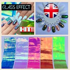 5pcs X 20cm BROKEN GLASS NAILS SHELL 3D EFFECT FOIL Art TREND Laser Mirror