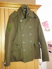 SUPERDRY Men's quality army green wool military style coat, NAVY LABEL, size L