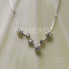 925 Sterling Silver Zodiac Sign Pendant Necklace Pisces CZ Constellation Jewelry
