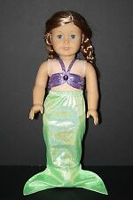 "American Girl 18"" Doll Little Mermaid Costume Outfit Ariel Purple and Green"