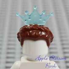 NEW Lego Female Princess Minifig BROWN QUEEN HAIR w/Minifigure Aqua Tiara Crown