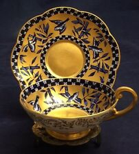 Vintage Coalport England Hand-Painted Cobalt Blue & Gold Birds Cup and Saucer