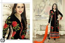 Karishma Kapoor-Exclusive Heavy Cotton Dress material blak