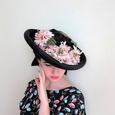 Vintage 1940s Black Straw Pink Flowers Large Sun Hat New York Creations 40s