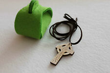 "IRELAND CELTIC CROSS IRISH WOODEN CROSS  With 20"" Leather Necklace Felt Box Free"