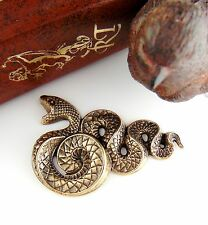 ANTIQUE BRASS Large Serpent SNAKE Stamping - Jewelry Findings  (C-503) `