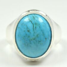 Natural Turquoise Ring For Men Ring 5 Ct Bold Sterling Silver Ring In All Sizes