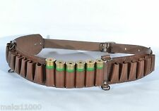 BROWN Leather Hunting  Bandolier 24  shell belt cartridge ammo  holder Shotgun