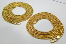 SET OF TWO SOLID 22K GOLD HANDMADE LINK CHAIN NECKLACE FROM RAJASTHAN INDIA