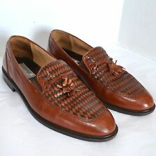 Stanley Blacker Loafers Mens Handmade Italy Brown Leather Woven Moccasin Shoe 9M