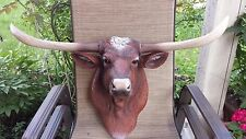 TEXAS LONGHORN WALL MOUNT HEAD HOUSE HOME RANCH DECOR TEXAS STAR CATTLE STEER